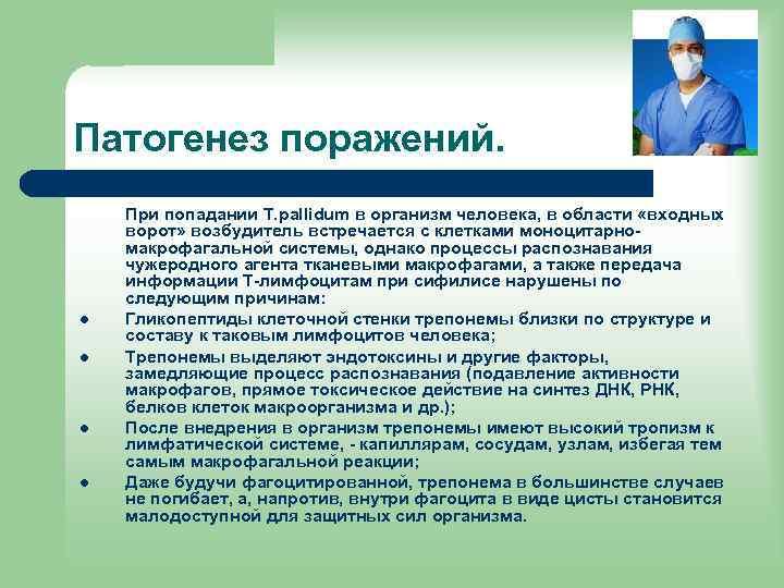 Патогенез поражений. l l При попадании T. pallidum в организм человека, в области «входных