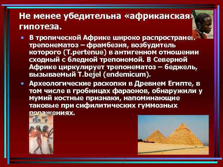 Не менее убедительна «африканская» гипотеза. • В тропической Африке широко распространен трепонематоз – фрамбезия,