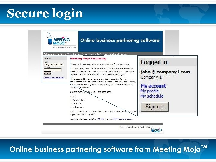 Secure login Online business partnering software from Meeting Mojo. TM