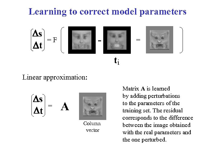 Learning to correct model parameters Ds Dt - =F = ti Linear approximation: Ds