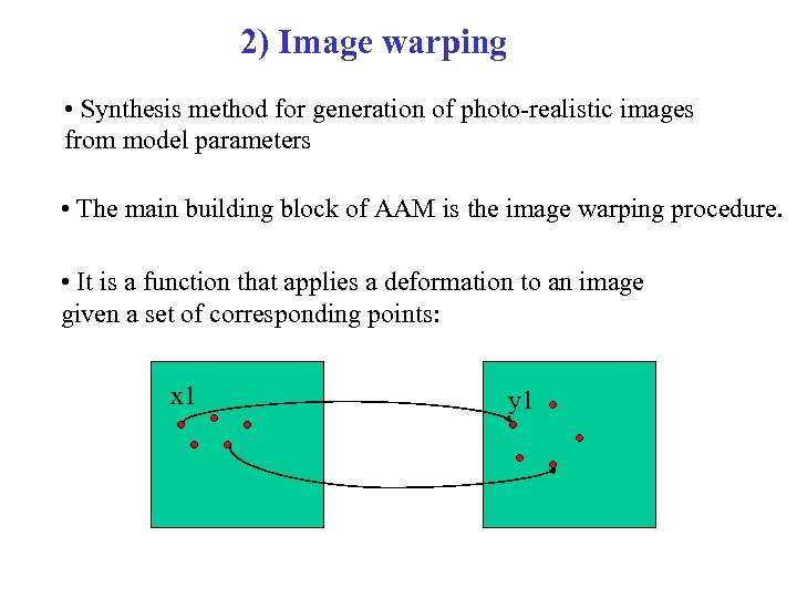 2) Image warping • Synthesis method for generation of photo-realistic images from model parameters