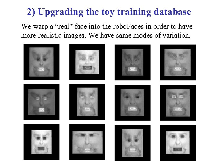 "2) Upgrading the toy training database We warp a ""real"" face into the robo."