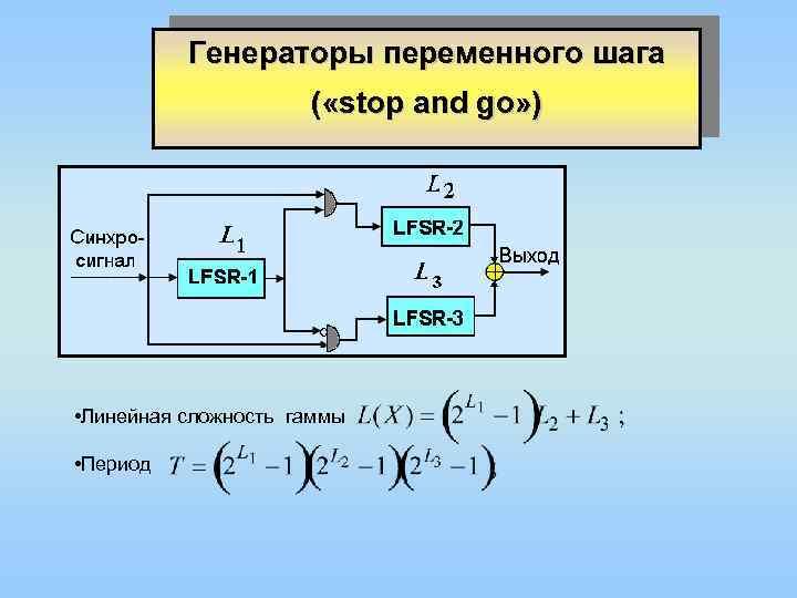 Генераторы переменного шага ( «stop and go» ) • Линейная сложность гаммы • Период
