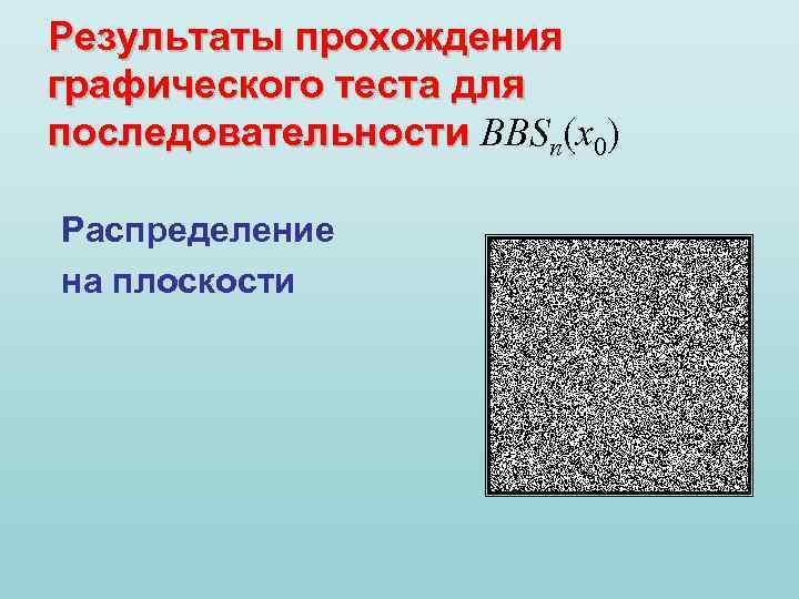 Результаты прохождения графического теста для последовательности BBSn(x 0) последовательности Распределение на плоскости