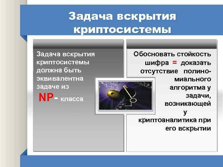 Задача вскрытия криптосистемы должна быть эквивалентна задаче из NP- класса Обосновать стойкость шифра =