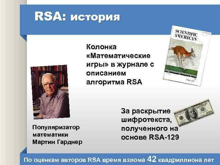 RSA: история Колонка «Математические игры» в журнале с описанием алгоритма RSA Популяризатор математики Мартин