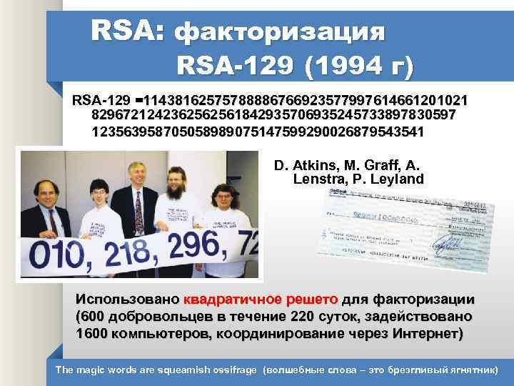 RSA: факторизация RSA-129 (1994 г) RSA-129 =11438162575788886766923577997614661201021 8296721242362562561842935706935245733897830597 123563958705058989075147599290026879543541 D. Atkins, M. Graff, A.