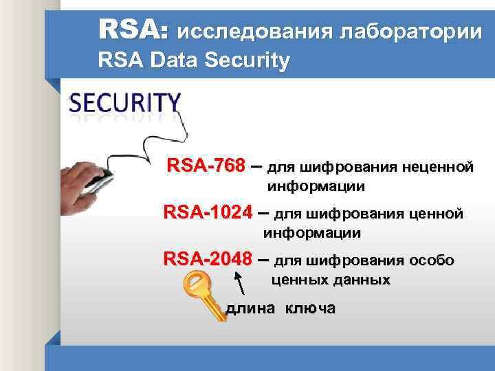 RSA: исследования лаборатории RSA Data Security RSA-768 – для шифрования неценной информации RSA-1024 –