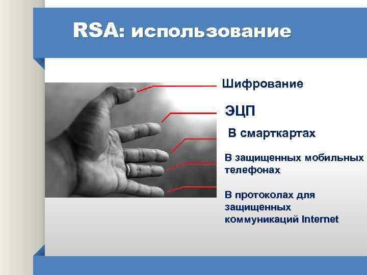 RSA: использование Шифрование ЭЦП В смарткартах В защищенных мобильных телефонах В протоколах для защищенных