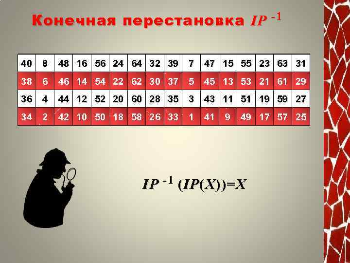 Конечная перестановка IP -1 40 8 48 16 56 24 64 32 39 7
