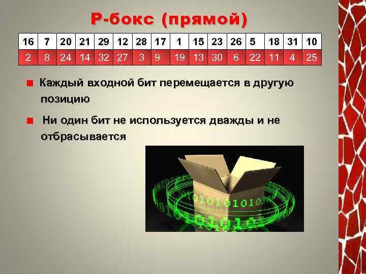 Р - бокс (прямой) 16 7 20 21 29 12 28 17 1 2