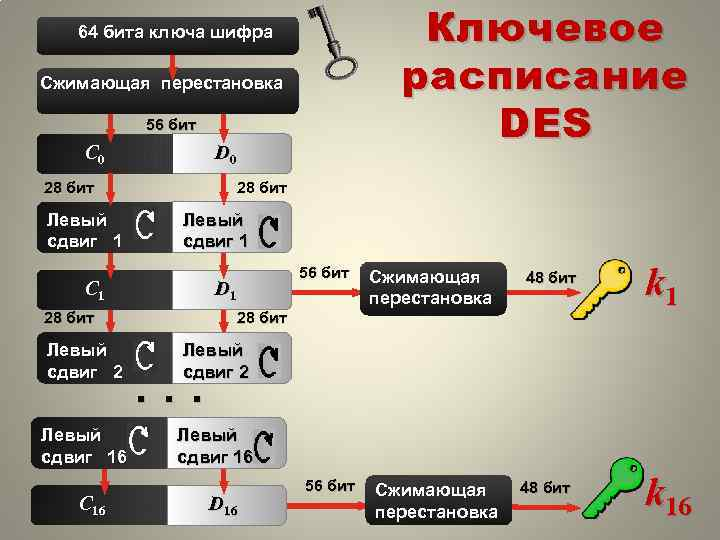 Ключевое расписание DES 64 бита ключа шифра Сжимающая перестановка 56 бит С 0 D