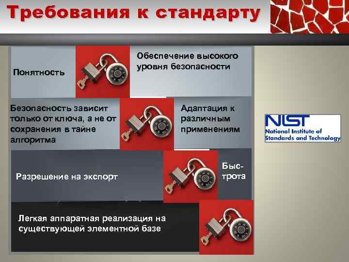 Требования к стандарту Понятность Обеспечение высокого уровня безопасности Безопасность зависит только от ключа, а