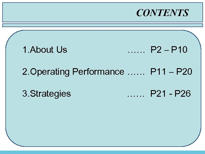 CONTENTS Contents 1. About Us …… P 2 – P 10 2. Operating Performance