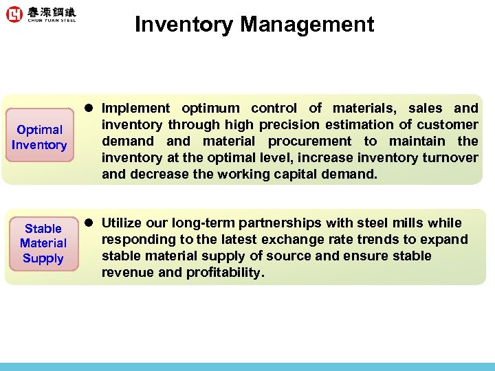 Inventory Management Optimal Inventory Stable Material Supply l Implement optimum control of materials, sales