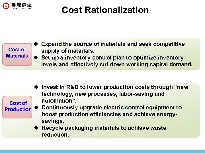 Cost Rationalization l Expand the source of materials and seek competitive Cost of supply