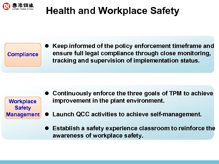 Health and Workplace Safety l Keep informed of the policy enforcement timeframe and ensure