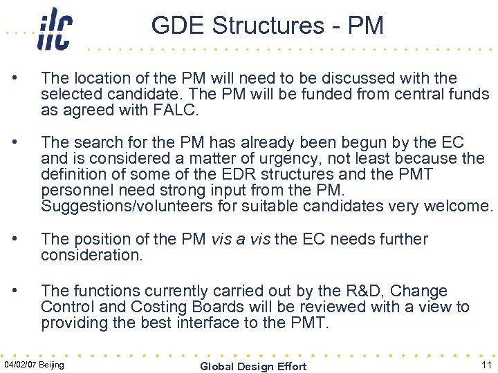GDE Structures - PM • The location of the PM will need to be