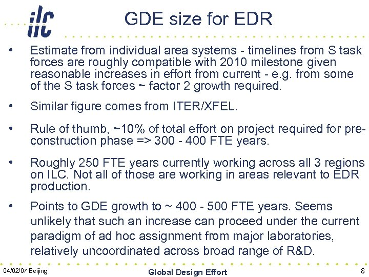 GDE size for EDR • Estimate from individual area systems - timelines from S