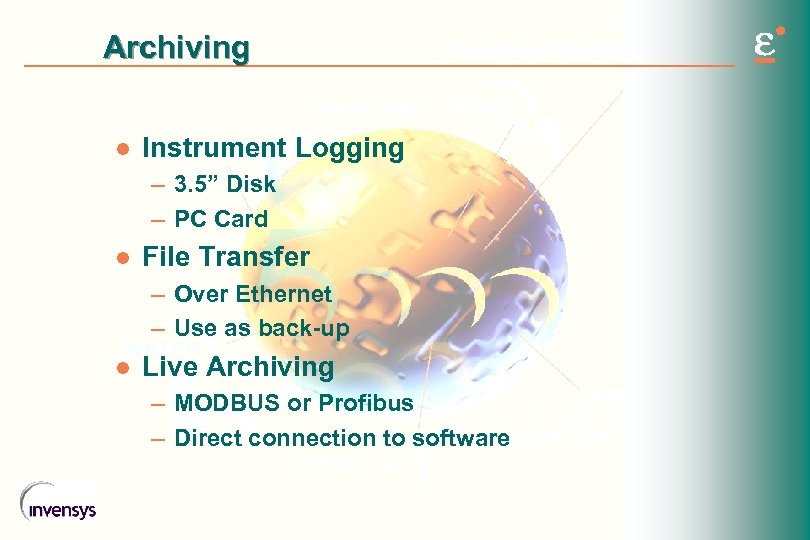 "Archiving l Instrument Logging – 3. 5"" Disk – PC Card l File Transfer"