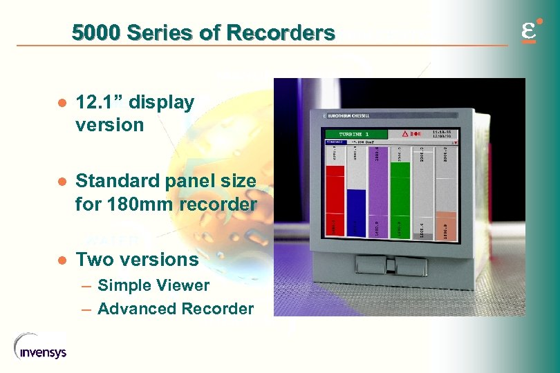 "5000 Series of Recorders l 12. 1"" display version l Standard panel size for"