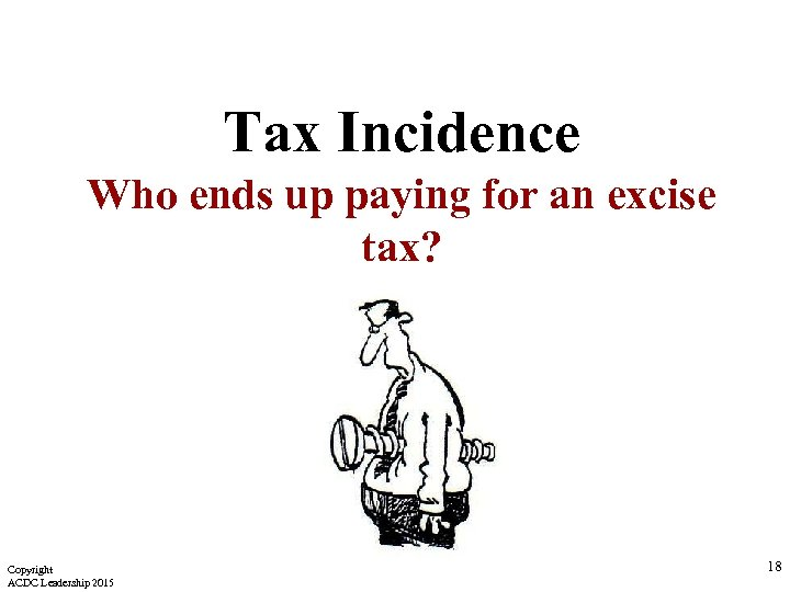 Tax Incidence Who ends up paying for an excise tax? Copyright ACDC Leadership 2015