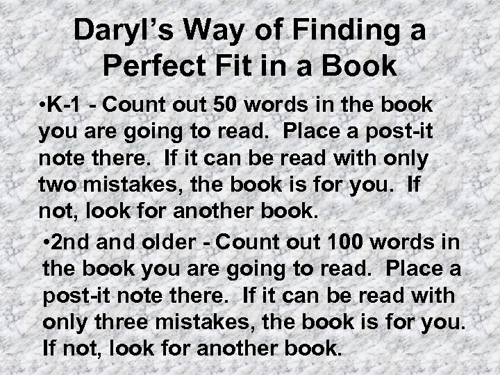 Daryl's Way of Finding a Perfect Fit in a Book • K-1 - Count