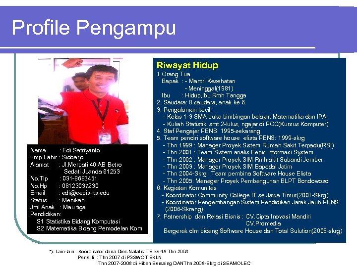 Profile Pengampu Riwayat Hidup Nama : Edi Satriyanto Tmp Lahir : Sidoarjo Alamat :