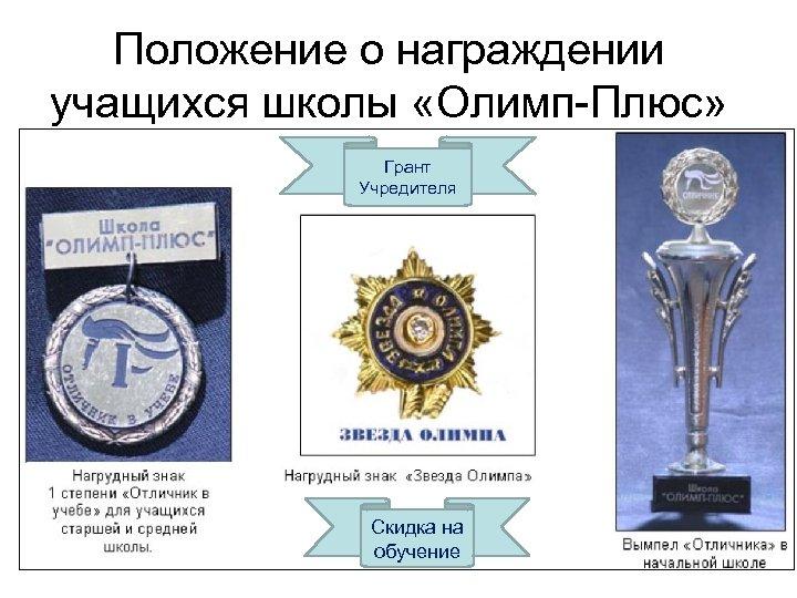 Положение о награждении учащихся школы «Олимп-Плюс» Грант Учредителя Скидка на обучение