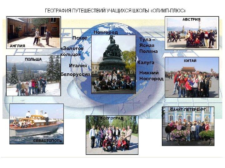 Псков «Золотое кольцо» Италия Белоруссия Новгород Тула – Ясная Поляна Калуга Нижний Новгород