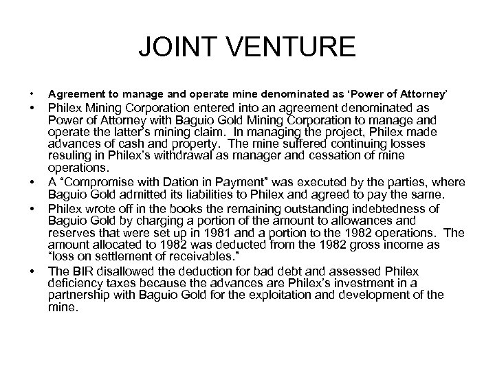JOINT VENTURE • Agreement to manage and operate mine denominated as 'Power of Attorney'