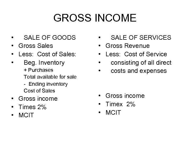 GROSS INCOME • SALE OF GOODS • Gross Sales • Less: Cost of Sales: