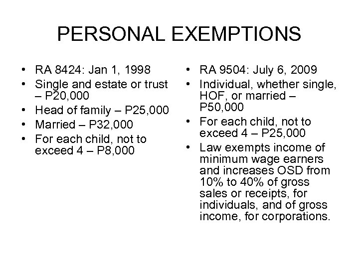 PERSONAL EXEMPTIONS • RA 8424: Jan 1, 1998 • Single and estate or trust