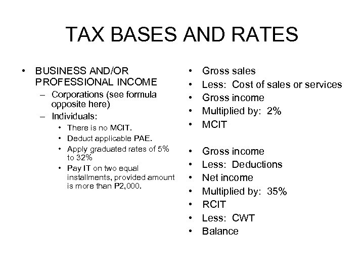 TAX BASES AND RATES • BUSINESS AND/OR PROFESSIONAL INCOME – Corporations (see formula opposite