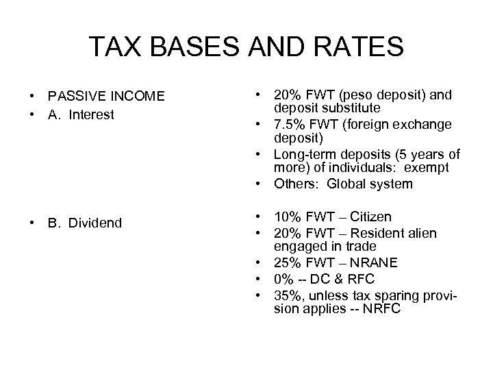 TAX BASES AND RATES • PASSIVE INCOME • A. Interest • 20% FWT (peso