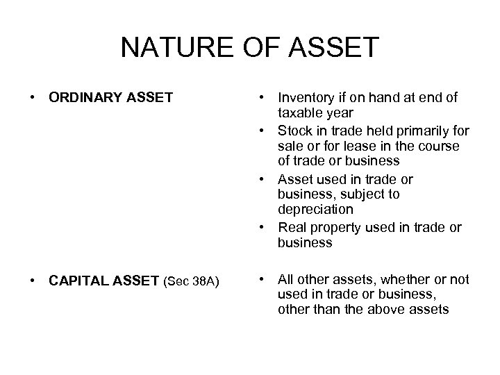 NATURE OF ASSET • ORDINARY ASSET • Inventory if on hand at end of