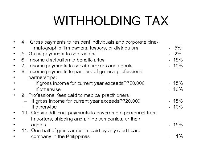 WITHHOLDING TAX • • • • 4. Gross payments to resident individuals and corporate