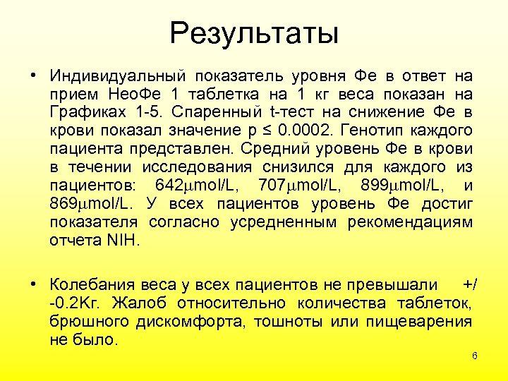 Результаты • Индивидуальный показатель уровня Фе в ответ на прием Нео. Фе 1 таблетка