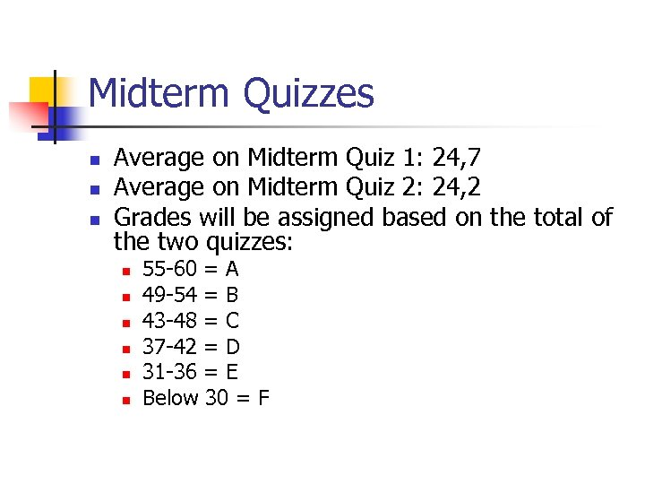 Midterm Quizzes n n n Average on Midterm Quiz 1: 24, 7 Average on