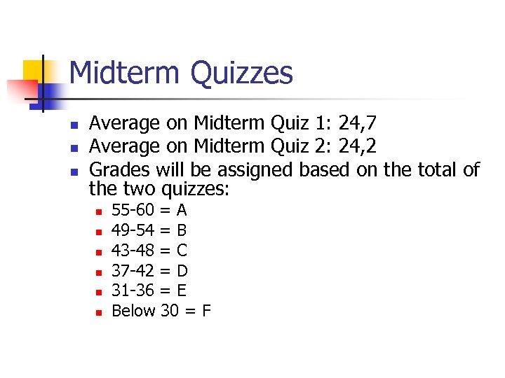 Midterm Quizzes n n n Average on Midterm Quiz 1: 24, 7 Average on