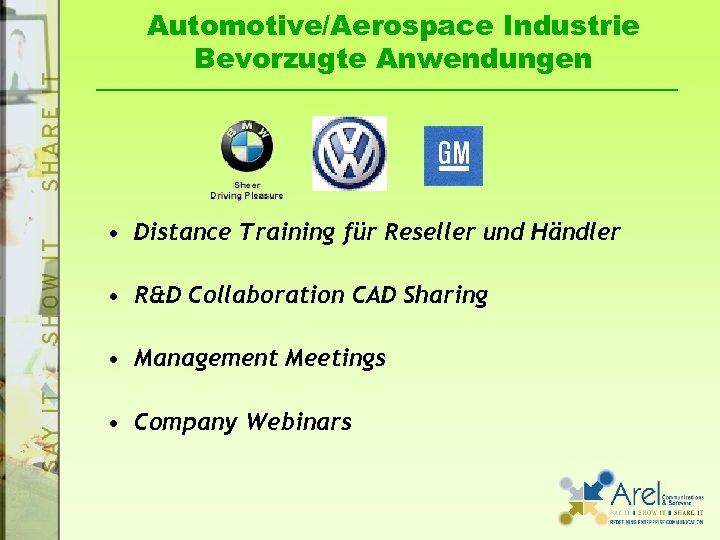 Automotive/Aerospace Industrie Bevorzugte Anwendungen • Distance Training für Reseller und Händler • R&D Collaboration