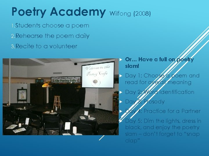 Poetry Academy Wilfong (2008) 1. Students choose a poem 2. Rehearse 3. Recite the