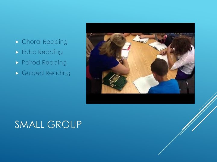 Choral Reading Echo Reading Paired Reading Guided Reading SMALL GROUP