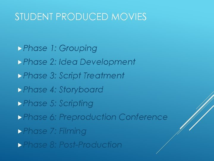 STUDENT PRODUCED MOVIES Phase 1: Grouping Phase 2: Idea Development Phase 3: Script Treatment