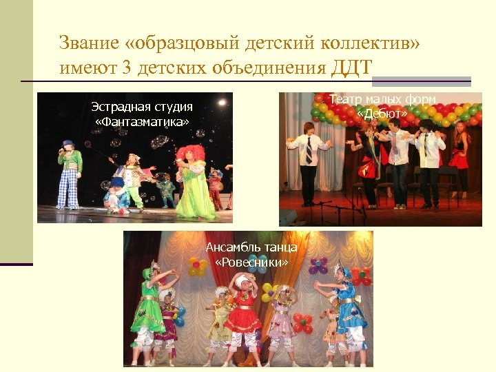 Звание «образцовый детский коллектив» имеют 3 детских объединения ДДТ Театр малых форм «Дебют» Эстрадная