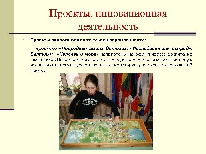 Проекты, инновационная деятельность • Проекты эколого-биологической направленности: проекты «Природная школа Остров» , «Исследователь природы