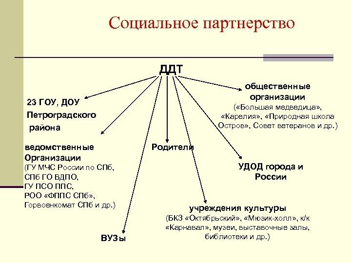 Социальное партнерство ДДТ общественные организации 23 ГОУ, ДОУ Петроградского района ( «Большая медведица» ,