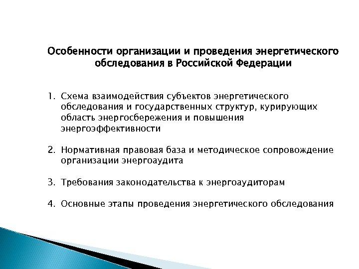 Особенности организации и проведения энергетического обследования в Российской Федерации 1. Схема взаимодействия субъектов энергетического