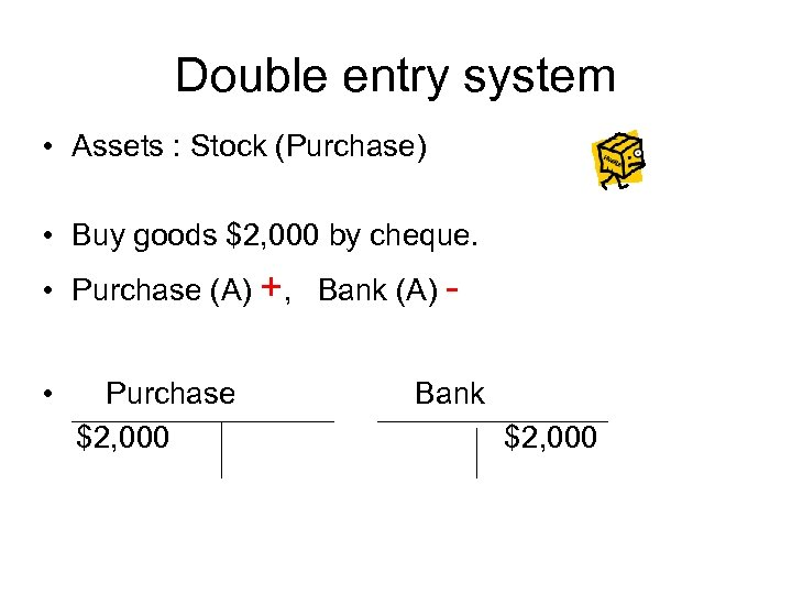 Double entry system • Assets : Stock (Purchase) • Buy goods $2, 000 by