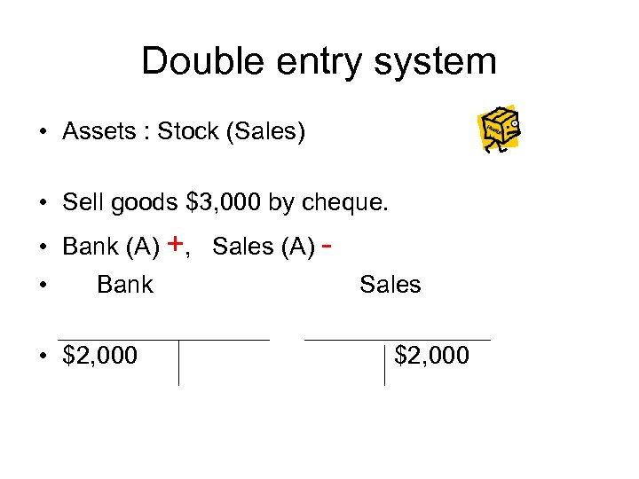Double entry system • Assets : Stock (Sales) • Sell goods $3, 000 by
